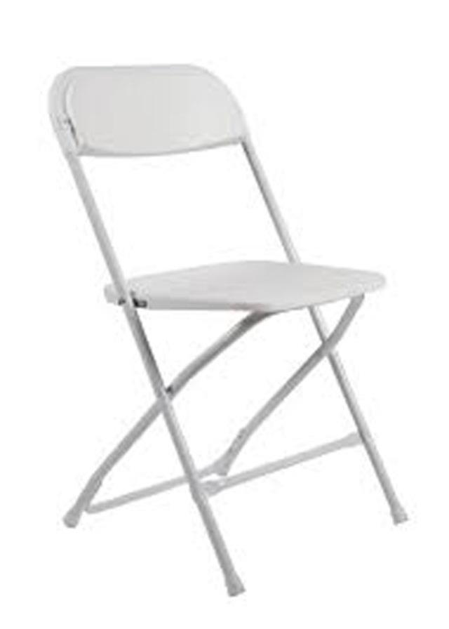 Where to find CHAIR, WHITE PLASTIC in Vinton